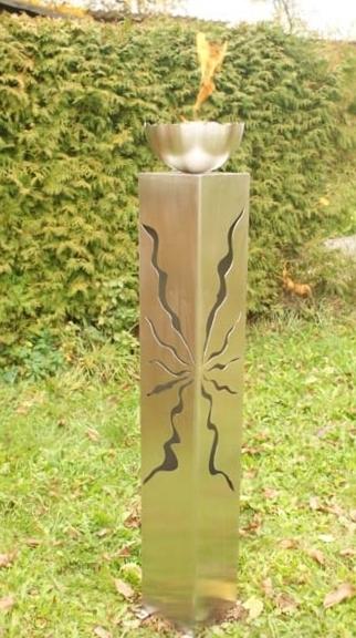 gartendeko shop - edelstahlsäule 125 cm mit feuerschale, Garten und erstellen