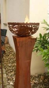 gartendeko shop fackels ule mit feuerschale anabell aus rost. Black Bedroom Furniture Sets. Home Design Ideas