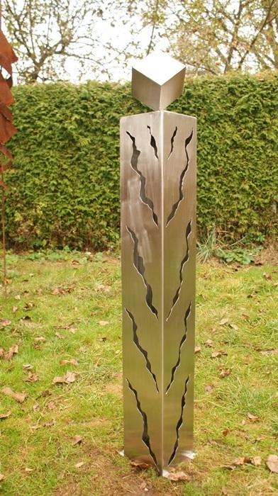 gartendeko shop - säule aus edelstahl 100cm mit rissen und würfel, Garten und erstellen