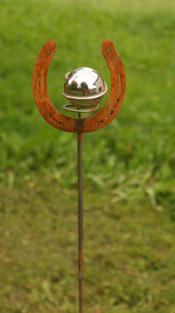 Gartendeko shop rost stecker 150 cm mit hufeisen for Gartendeko stecker