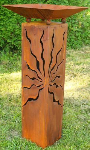 Rost Säule Konisch 100cm mit Muster zum bepflanzen  Schale Gartendeko