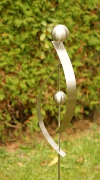 Gartendeko shop edelstahl gartenstecker 2 edelstahlkugeln for Gartendeko in edelstahl