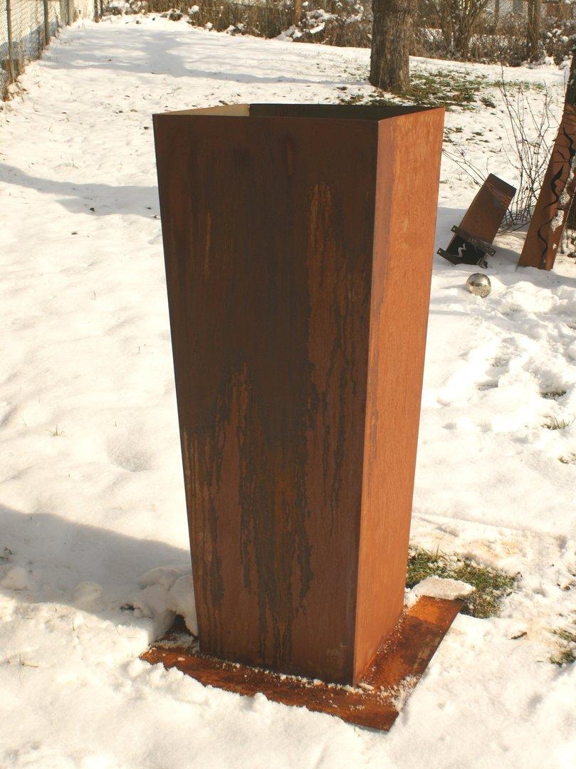 Gartendeko shop pflanzenk bel aus rost 98 cm eckig for Gartendeko aus eisen rost