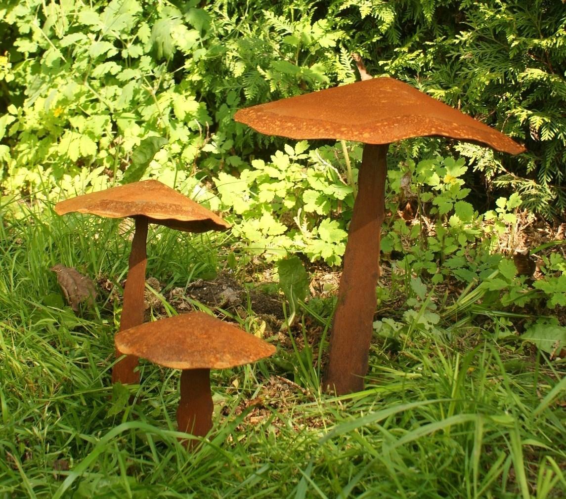 Gartendeko Shop - Roststab, Gartenstecker Pilze im 3-er Set