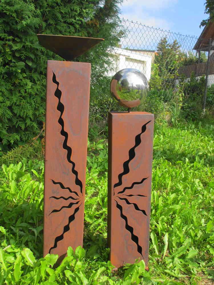 Gartendeko Shop - Rost Säulen 80 cm + 60cm mit Vogeltränke Kugel