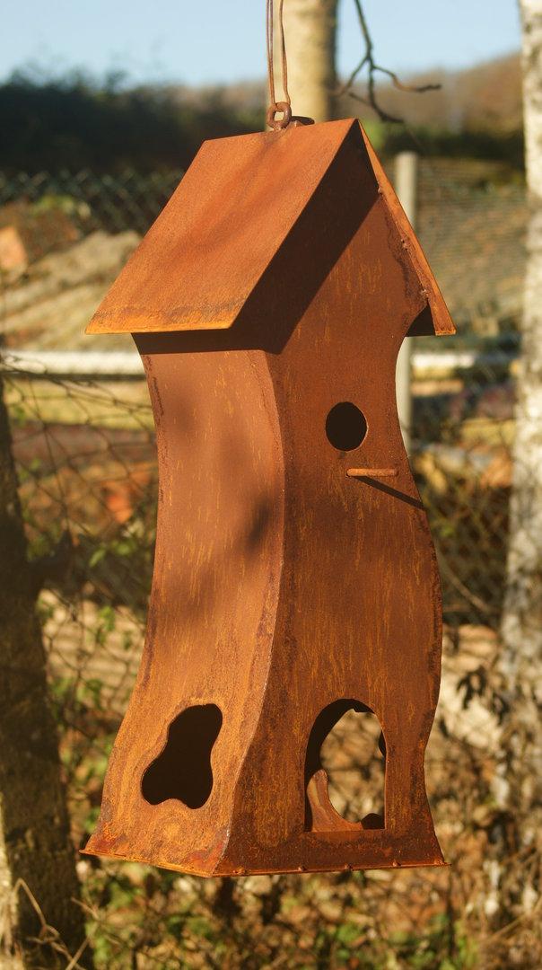 gartendeko shop vogelvilla vogel haus aus rost eisen. Black Bedroom Furniture Sets. Home Design Ideas