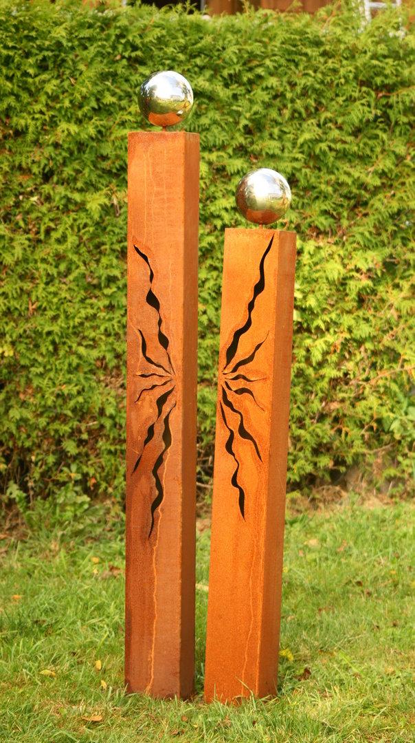 Gartendeko shop rost s ulen 150cm 125cm mit risse und kugeln - Gartendeko rost ...