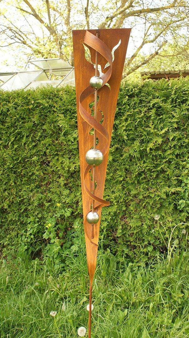 Gartendeko shop rost stecker mit glanz edelstahlkugeln for Gartendeko stecker