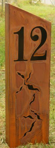 Rostsäule Hausnummer 12 Gartendeko 1,20m Stele Rost Deko